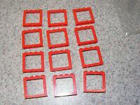 4x Lego Window Red Disc Transparent White 1x3x2 Window Sill Train House 31bc01