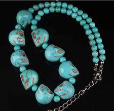 """lite Turquoise Skull Bead Gemstone Necklace 18""""AAAAA"""