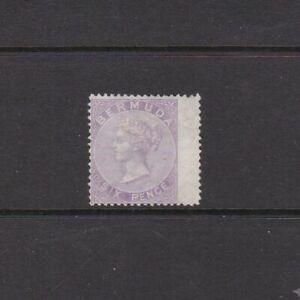 Bermuda 1874 6d Dull Mauve Mint No Gum Wing Margin Copy