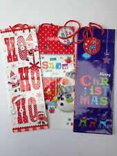 3 x Christmas Bottle Gift Bags with Tags