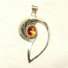 "AMBER PENDANT, LARGE, GENUINE 925 STERLING SILVER,  ""new"" AUZ SELLER"