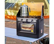 Camping Oven LPG Gas 2 Burner Stove Portable Caravan Cooking Stainless Steel