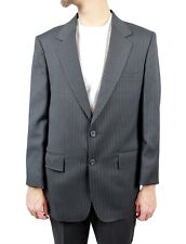 2 Two Piece Pinstripe Suit 40S 34x29 Vintage Charcoal Gray Blue Blazer Pants