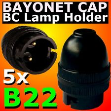 5x BC Lamp Holder Bayonet Cap B22 Bulb Light Fitting Accessories 240V BLACK DIY
