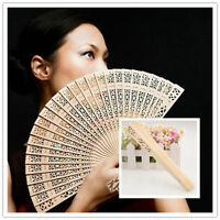Vintage Wedding Bridal Party Folding Bamboo fan Original Wooden Carved Hand Fan