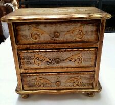 VINTAGE SHABBY CHIC FLORENTINE JEWELRY MUSIC BOX GOLD 3 DRAWER SOMEWHERE MY LOVE