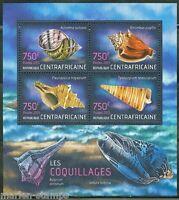 CENTRAL AFRICA 2013 SEASHELLS  SHEET  MINT NH