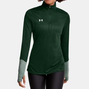 Under Armour Women's UA HeatGear Locker ½ Zip Long Sleeve Shirt. Forest Green