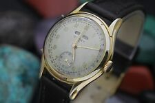 Vintage SIDNEY 17j Spanish Triple Date Calendar Gold Plaque Men's Dress Watch