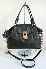"MICHAEL KORS ""Hamilton"" Crossbody Shoulder Grab Slouch Bag Black Zip Top Leather"
