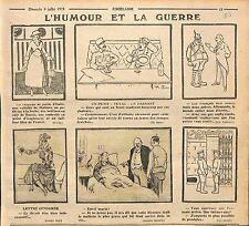 Humour Guerre anti-Boches Mode de Paris Officier Poilus Front Pendules  WWI 1915