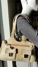 Stuart Weitzman- Russell & Bromley- cream snakeskin leather shoulder/grab bag