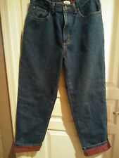 Women's  LL Bean Plaid Flannel Lined Jeans Size 12Reg  Relax Fit