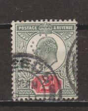 Great Britain Edward VII 2p Yellow Green & Carmine Perfin Light Cancel