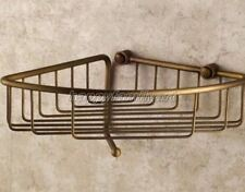 Antique Brass Wall Mounted Bath Shower Caddy Shelf Storage Basket W/ Hook yba078