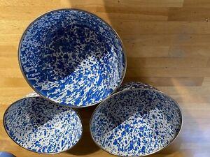 CGS Blue/white Set Of 3 Enamel Bowls Brand New Enamelware Specked/splattered