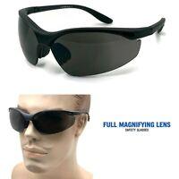 Full Magnifying Lens Z87+ Safety Reader Glasses Reading Sunglasses Black Frame