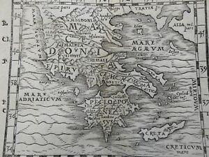 Ottoman Balkans Macedonia Greece Epirus Crete 1579 Petri rare wood cut map