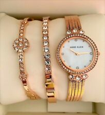 Anne Klein Watch Swarovski Crystal Accent Bracelet Set Rosegold AK/3202RGST 25mm