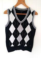 Men's Tommy Hilfiger sleeveless jumper, navy blue, grey & white, size M