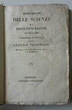 FRANCESCO BACONE NUOVO ORGANO DELLE SCIENZE BASSANO TIP. REMONDINIANA 1810