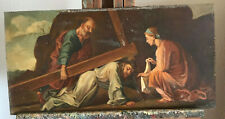 tableau N73 huile sur panneau bois 19eme siecle le christ tombe sous la croix