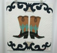 JUDI BOISSON Quilted Pillow Covers COWBOY BOOTS Country Western Folk Art Sham