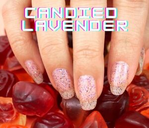 m9L3GoColorStreet CANDIED LAVENDER Nail Strips Glitter NEW **+TWOSIES**