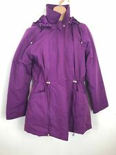WOMENS BHS PURPLE ZIP PRESS STUD FITTED REMOVABLE HOODED WINTER COAT UK 12