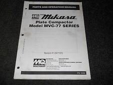Multiquip Mikasa plate compactor MVC-77 series operation & parts manual