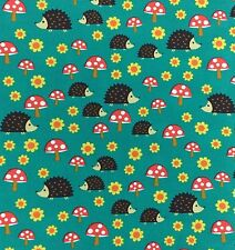By 1/2 Yard ~ Hedgehoglets in Teal ~ Fox Woods Michael Miller Fabric Hedgehogs