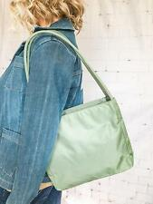 $750 PRADA Light Olive Green Nylon Tote Bag Double Hobo Strap Outside Pocket