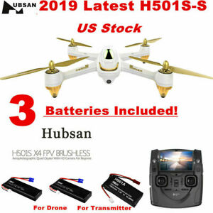 Hubsan H501S X4 Pro Drone FPV Brushless Quadcopter 1080P CAM  Follow Me+3Battery