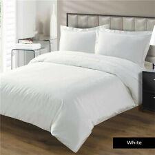Hotel Quality Plain White Cotton Duvet Cover Bedding Set Single Double King Size