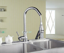 Luxury Chrome Kitchen Laundry Sink Basin Mixer Tap Pull Out Spout Swivel Faucet