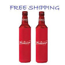 2 Authentic Budweiser 16oz Beer Slim Bottle Koozie Coolie Hugie Bud Light Water