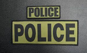 Woven POLICE Patch Set Law Enforcement LEO Hook & Loop Backing OD & Black