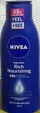 2 x Nivea Rich Nourishing Lotion Deep Moisture Serum Dry To Very Dry Skin 400ml
