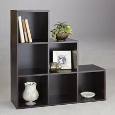 New 6 Cube Step Storage Unit Shelf Espresso Office Wooden Organizer Bookcase