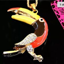 Betsey Johnson Necklace TOUCAN BIRD Yellow Orange Brown Gold Sparkles Crystals