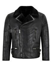 Men Biker Sheepskin Jacket Black Real Shearling Fur Bomber Classic Winter Jacket