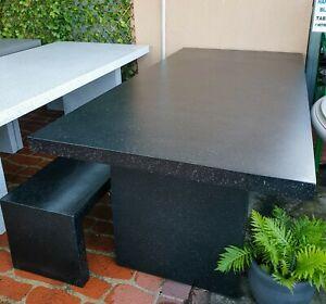 2.1m Concrete Outdoor Garden Patio Harvey Rectangle Table Bench Black Terrazzo