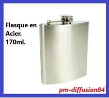 Jolie FLASQUE à ALCOOL - En acier inoxydable  - Aspect Chrome brossé  - 170ml