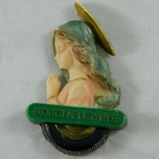 """Vintage Fridge Locker Magnet Religious """"Protect Me Everywhere"""" Holy Mother Mary"""