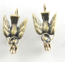 RARE Art Nouveau Winged Dove Earrings Pearl & 14k Yellow Gold