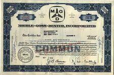 Miehle-Goss-Dexter Stock Certificate Blue Older