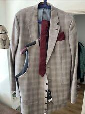 Mens 3 Piece Suit Burton Menswear London Grey Burgundy Check & Tie And Kerchief
