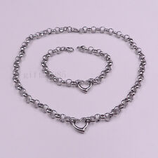 ew Choker Clavicle charm Stainless Steel Heart Necklace Bracelet Round Chain