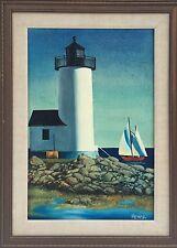 Lighthouse Oil On Canvas By Wildlife Illustrator Artist Medynsky Great Work!