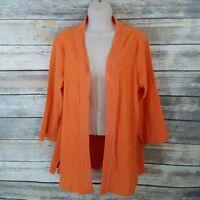 Denim & Co M 3/4 Sleeve Open Front Gauze Top Jacket Crochet Trim Orange Womens